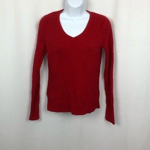 Talbots Cotton V-neck cable knit sweater S